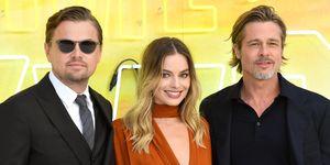 Leonardo DiCaprio, Margot Robbie y Brad Pitt en el estreno de 'Érase una vez en Hollywood'