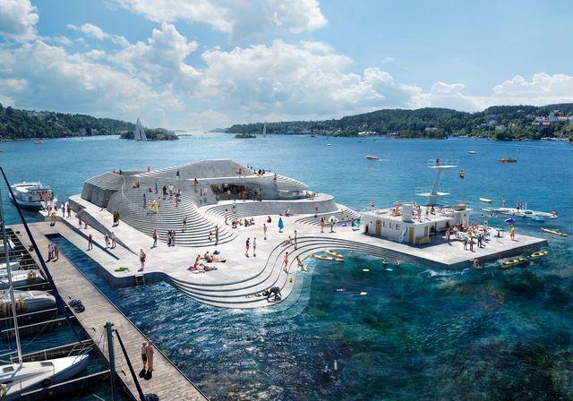 un baño en el puerto en knubben diseñado por el estudio snohetta