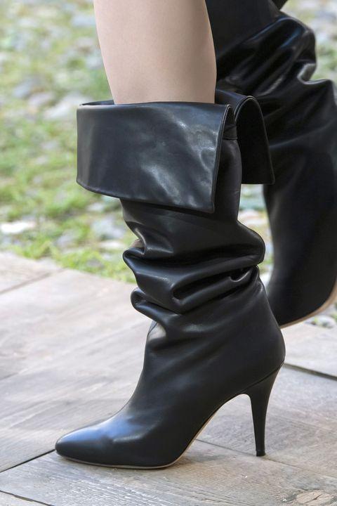 Footwear, Black, Boot, Shoe, High heels, Human leg, Leg, Knee-high boot, Joint, Brown,
