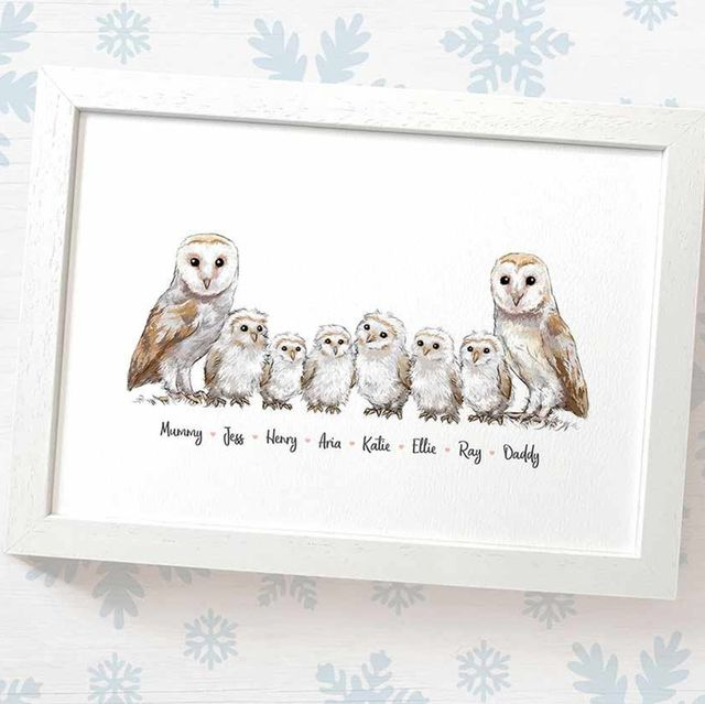 framed drawing of two adult owls with 6 owlets standing between them and names written in script below each owl