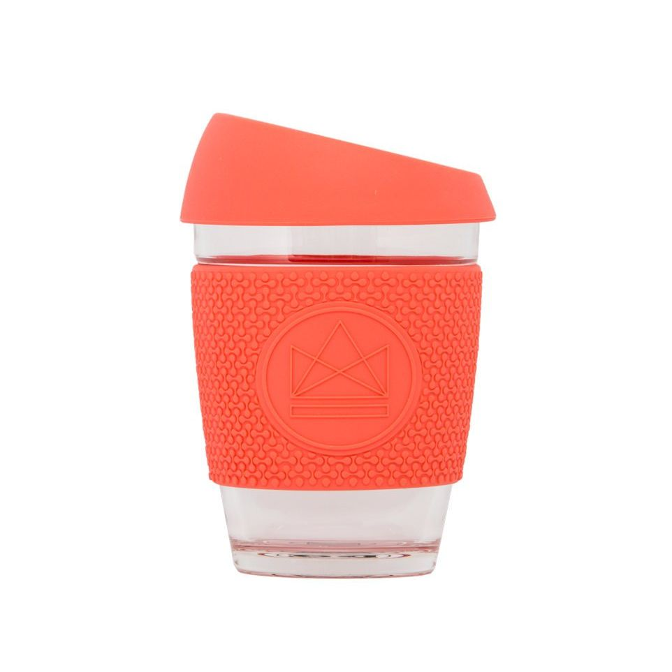 Neon glass coffee cup