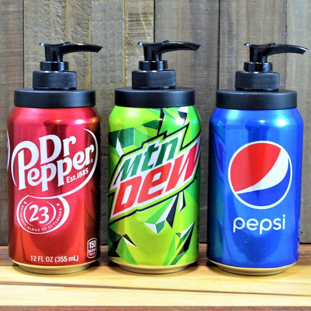 etsy dr pepper, mountain dew, and pepsi soda can soap dispensers