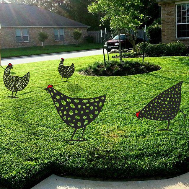 etsy metal chicken lawn art