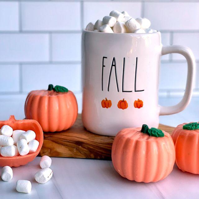 etsy pumpkin shaped pumpkin spice hot cocoa bombs