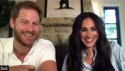 the duke and duchess making a recent surprise virtual appearance at a get lit youth poetry zoom class from their california home
