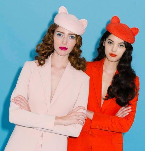 Clothing, Beauty, Lip, Fashion, Hat, Headgear, Fashion design, Outerwear, Textile, Fashion accessory,