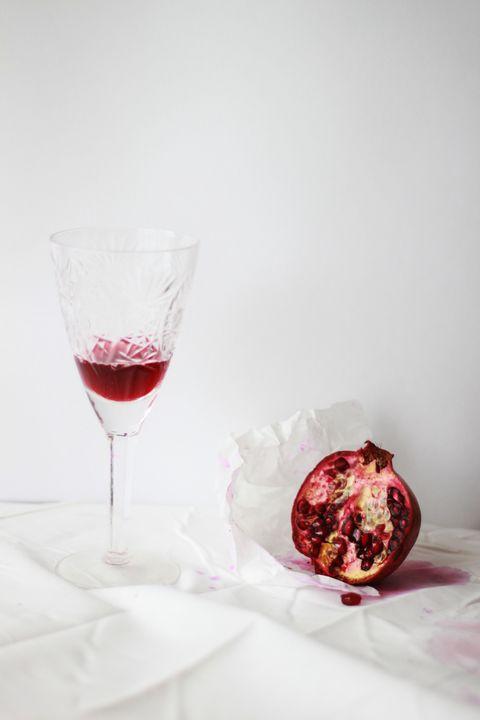 Pomegranate, Red, Still life photography, Glass, Wine glass, Food, Drink, Stemware, Still life, Champagne stemware,