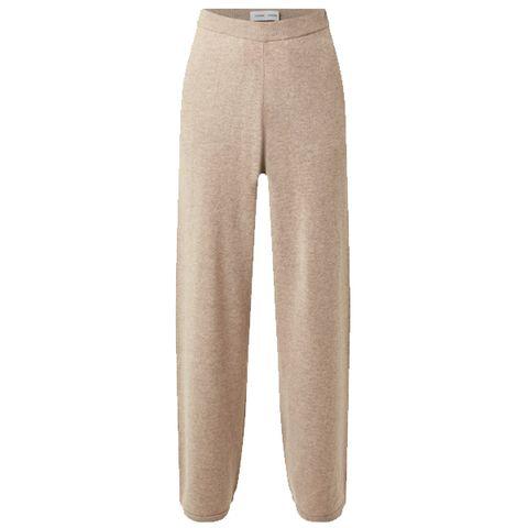 camelkleurige wollen broek van samsøe  samsøe met elastiek
