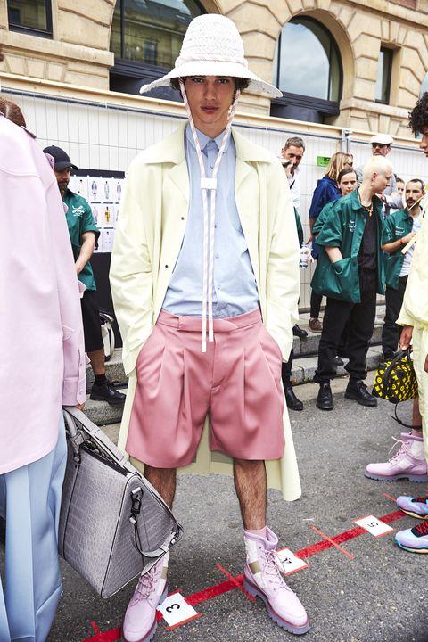 Street fashion, White, Photograph, Pink, Fashion, Snapshot, Footwear, Human, Street, Outerwear,