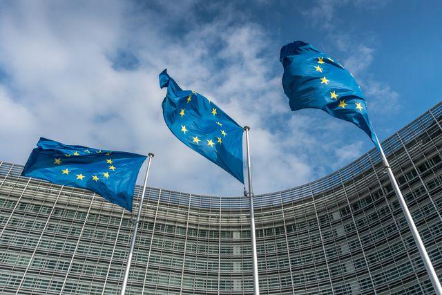 european union flags at berlaymont building