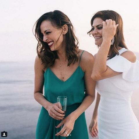 Dress, Friendship, Smile, Gesture, Photography, Photo shoot, Cocktail dress, Neck, Happy, Formal wear,