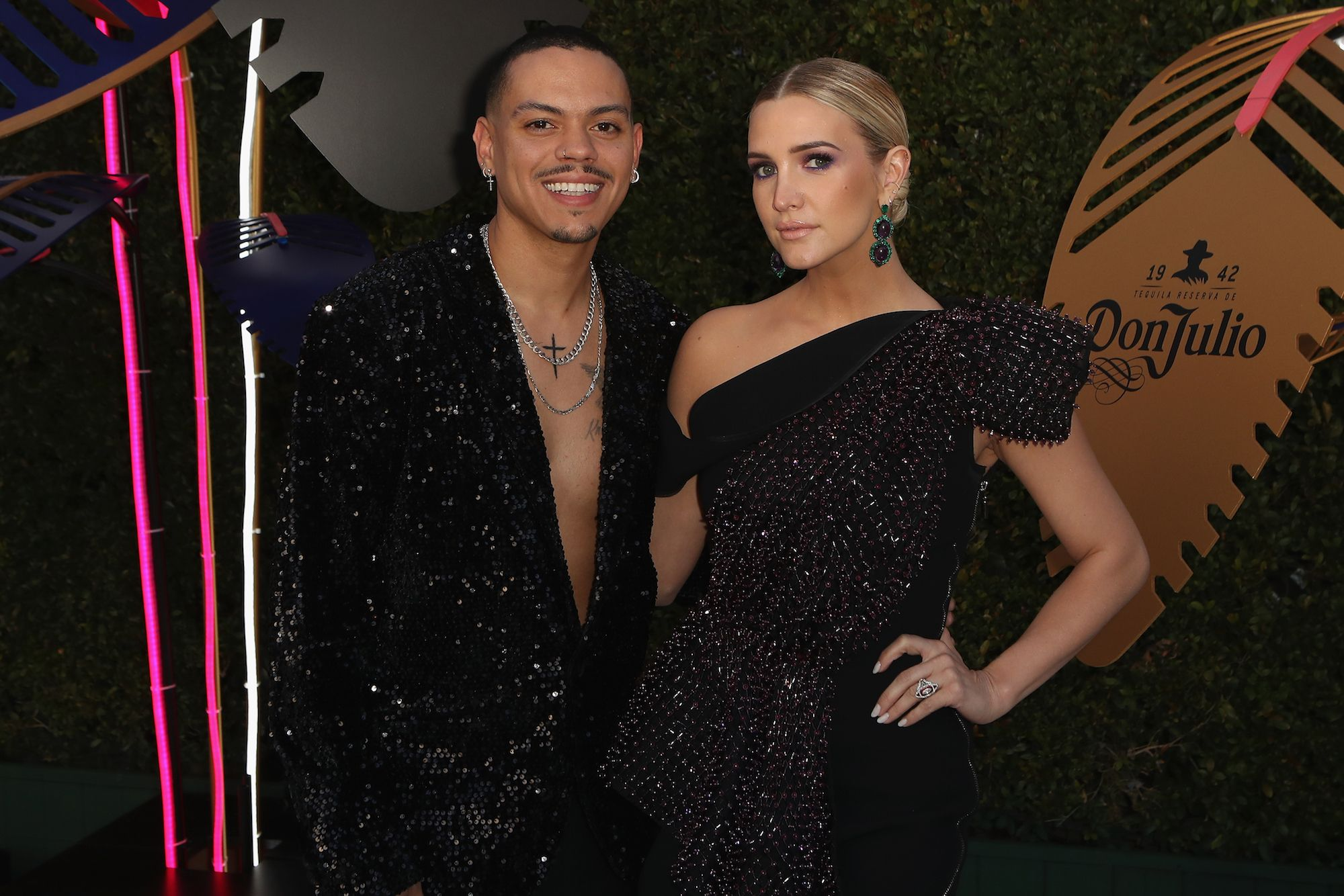 Evan Ross and Ashlee Simpson Ross Evan Ross and Ashlee Simpson Ross attend the 27th annual Elton John AIDS Foundation Academy Awards viewing party celebrating EJAF and the 91st annual Academy Awards on February 24.