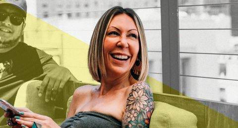 Facial expression, Smile, Beauty, Skin, Yellow, Arm, Tattoo, Blond, Fun, Sitting,