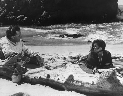 Liz Taylor and Richard Burton on Beach