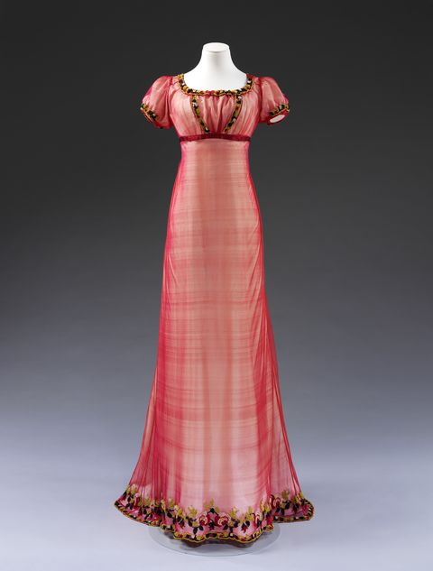 evening dress england c 1810 machine made silk net, embroidered with chenille thread, with silk ribbon, hand sewn