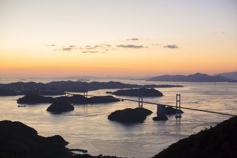 Evening Scene of Kurushima Kaikyo Bridge of Setouchi Shimanami Kaido Expressway