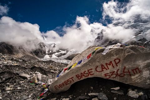 Everest Base Camp 5364 m, written on a big rock on Khumbu...