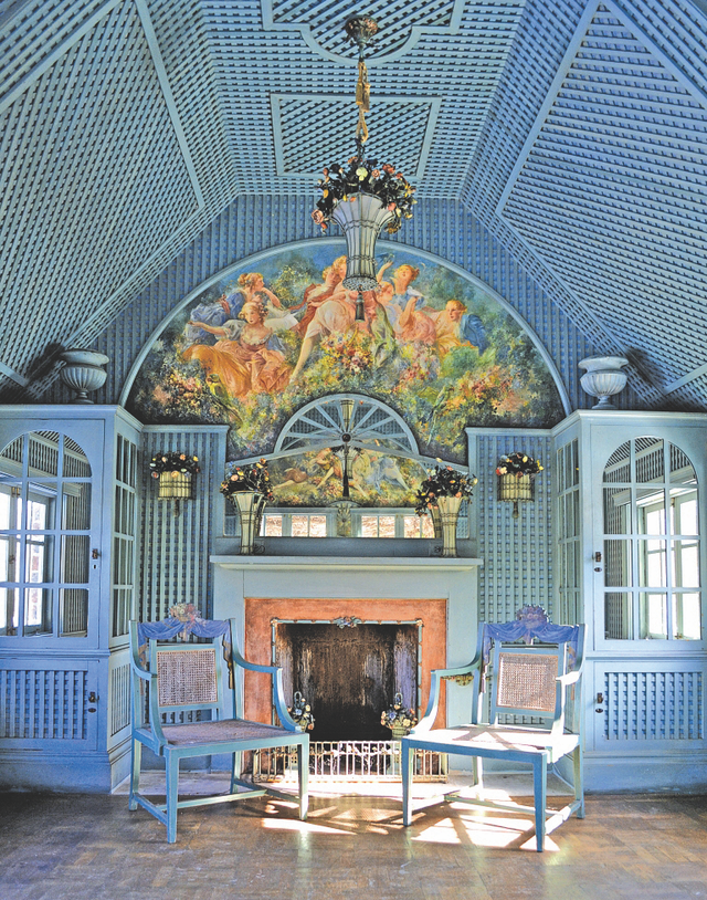 the tea house at planting fields arboretum state historic park, designed by elsie de wolfe, with pieces created by artist everett shinn