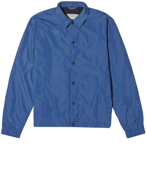 Clothing, Blue, Sleeve, Outerwear, Jacket, Collar, Windbreaker, Cobalt blue, Electric blue, Button,
