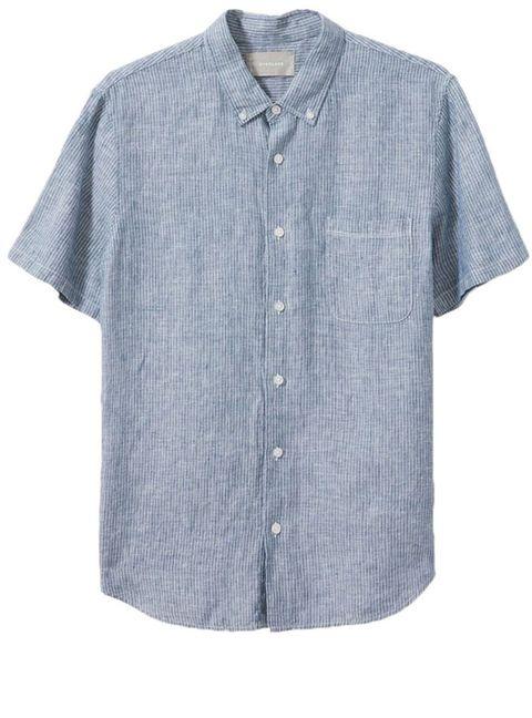 Clothing, Sleeve, Blue, Collar, Shirt, Button, Dress shirt, Denim, T-shirt, Pocket,