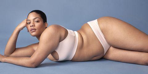 Undergarment, Skin, Lingerie, Undergarment, Thigh, Model, Leg, Stomach, Brassiere, Briefs,