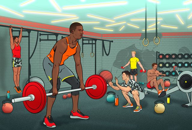 men working out in gym, exercise