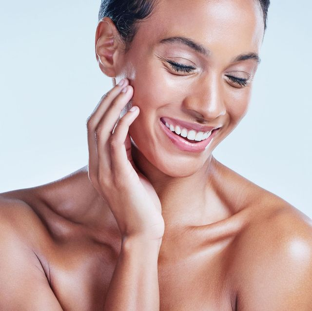 beautiful woman with natural hydrated skin and glow