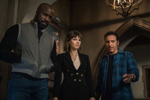 pictured l r  mike colter as david acosta,katja herbers as kristen bouchard and aasif mandvi as ben shakir of the paramount series evilphoto elizabeth fishercbs ©2021paramount inc all rights reserved