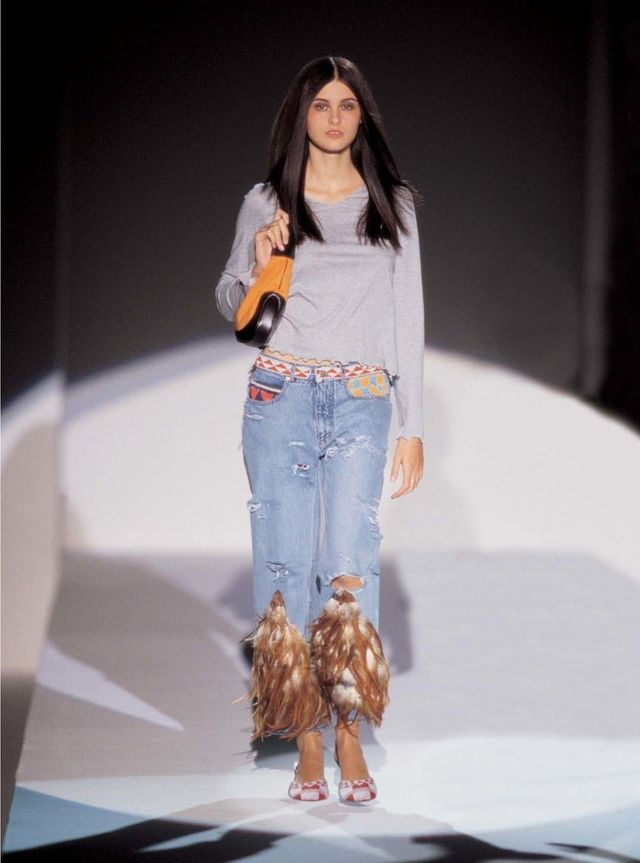 gucci spring summer 1999 runway model beaded feathered distressed midrise low rise jeans worn by rihanna