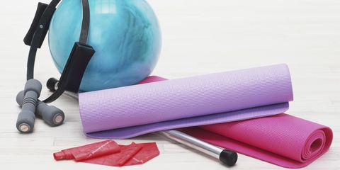 Exercise mat, free weights, magic circle, rubber ball, ankle weights