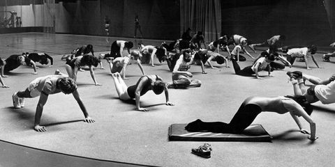 Physical fitness, Circuit training, Black-and-white, Room, Stretching, Sports, Strength training, Pilates, Leg, Exercise,