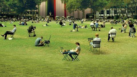 Lawn, Grass, Public space, Park, Campus, Recreation, Leisure, Chair, Furniture, Plant,