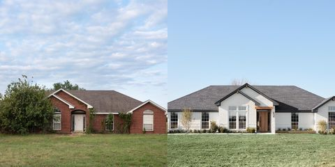 before and after exterior of the home from when it was red brick and covered in trees to the final white brick look with removed landscaping