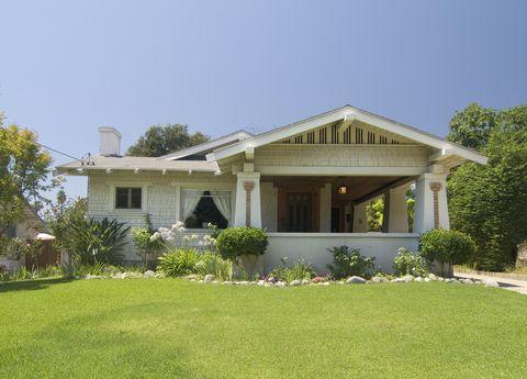 Exterior one story bungalow at Pasadena California