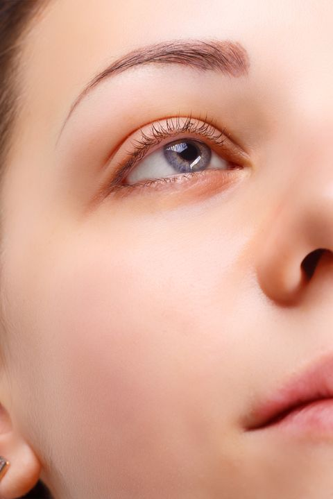 eyelash extension comparison of female eyes before and after