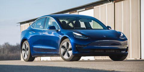 blue Tesla Model 3