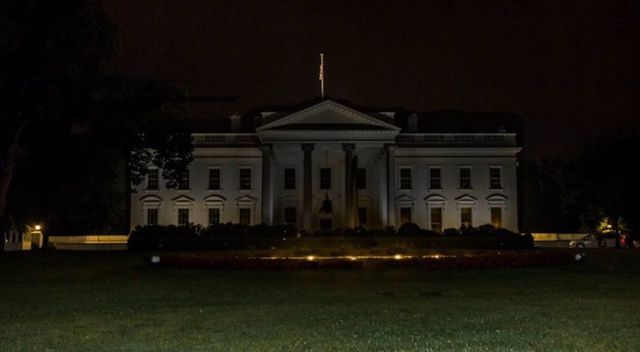 white house with the lights turned out