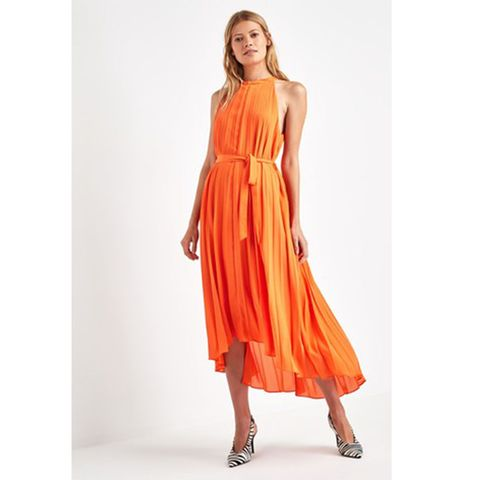 F&F Orange Pleated Midi Dress