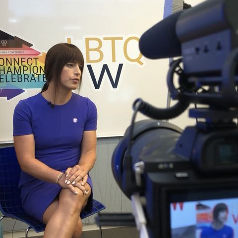 natalie egan being interviewed for lbtq women in tech conference, may 2019