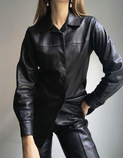 Clothing, Leather, Outerwear, Jacket, Leather jacket, Collar, Sleeve, Shoulder, Textile, Coat,