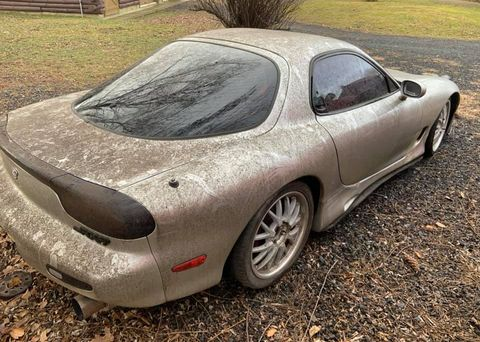 Land vehicle, Vehicle, Car, Alloy wheel, Sports car, Wheel, Tire, Automotive tire, Rim, Mazda rx-7,