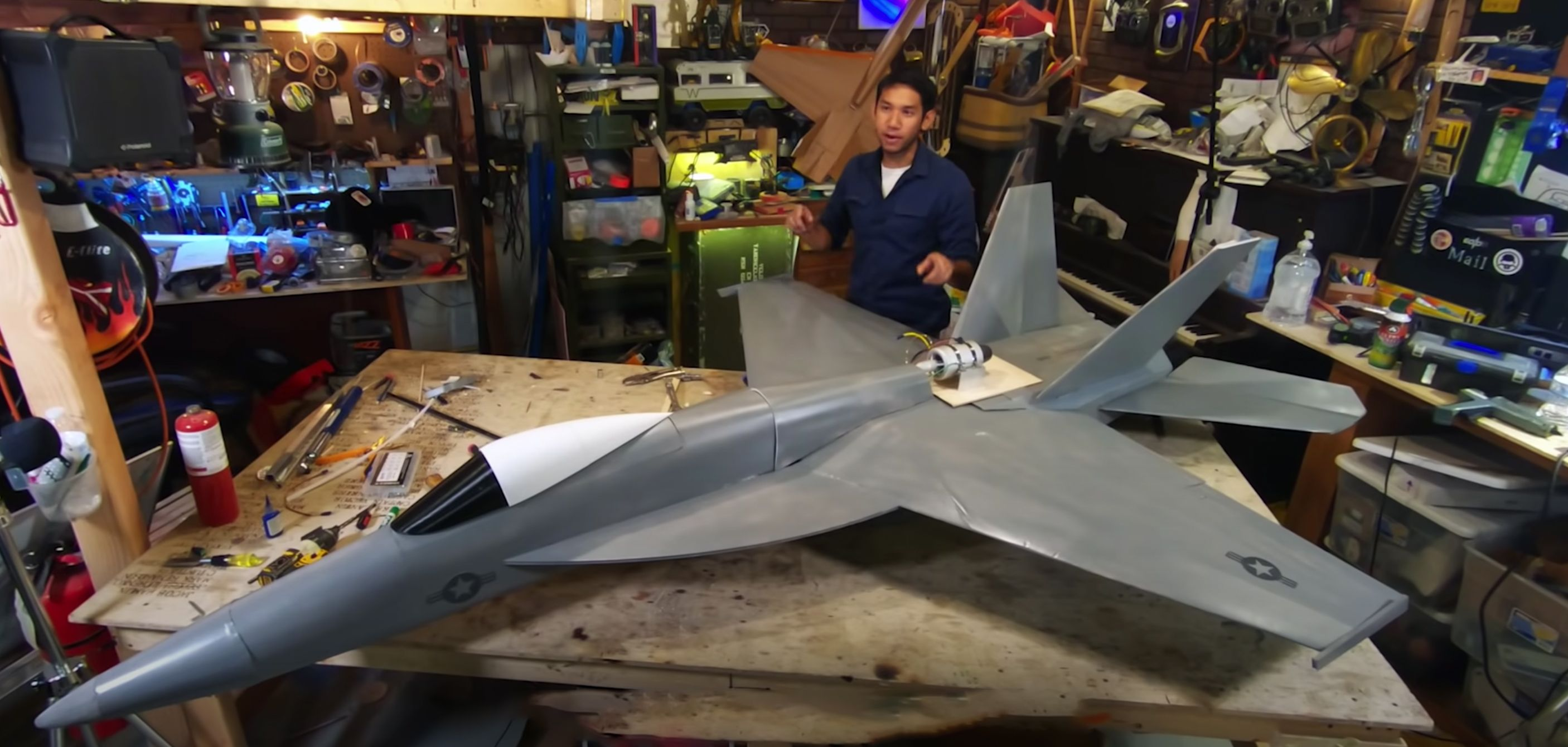 Watch This Guy Build a Giant Foam F/A-18 ... With a Real Jet Turbine Engine