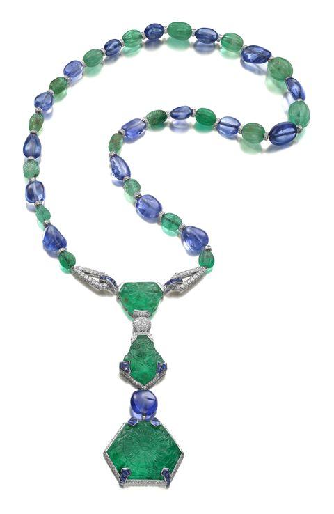 the timken necklace,  art deco emerald, sapphire, and diamond pendant necklace, cartier, paris, �1925