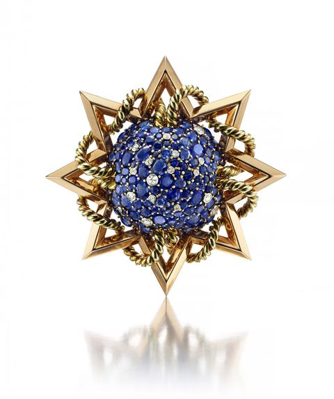 gold, sapphire, diamond, brooch, Paul Flato, jewelry, Hollywood