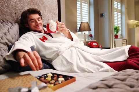 Room, Furniture, Muscle, Leisure, Comfort, Nightwear, Linens, Recreation, Interior design, Breakfast,