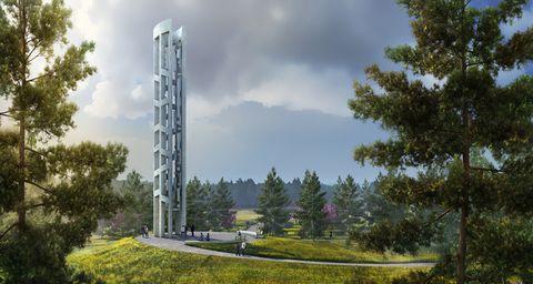 Sky, Natural landscape, Tree, Architecture, Tower, Cloud, Landscape, Plant, Photography, Park,