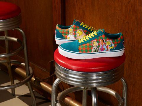 vans x the simpsons聯名系列的格紋印花帆布鞋
