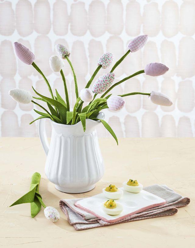 fabric tulips in vase