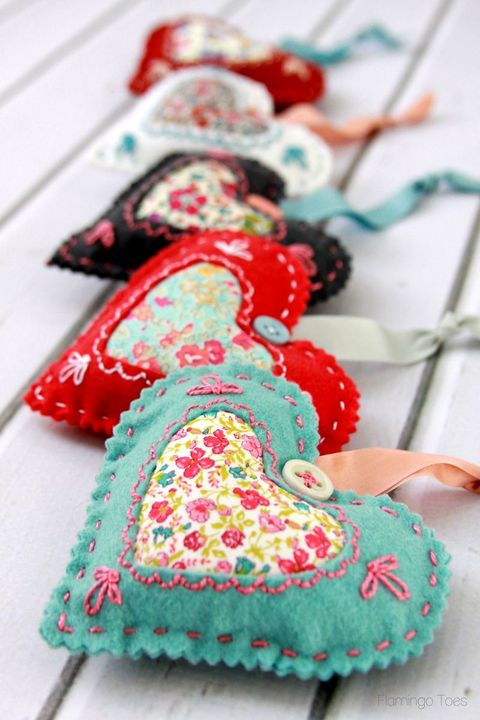 fabric hearts valentines day decor