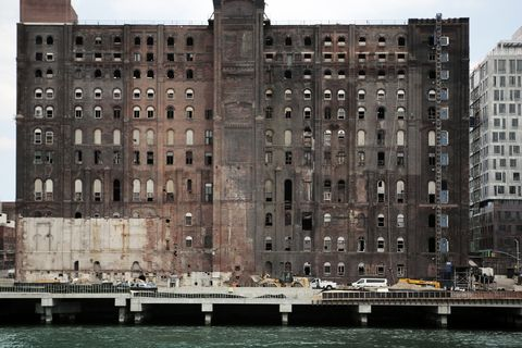Facade of the old Domino Sugar factory in 2017. Brooklyn, New York City, USA